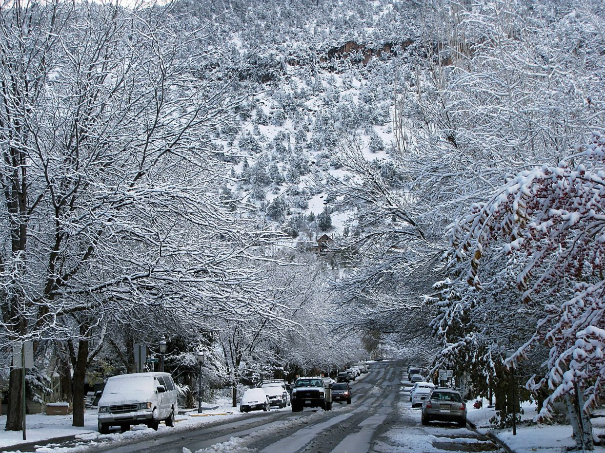 Snow covers trees along Cooper Avenue in Glenwood on Wednesday morning.