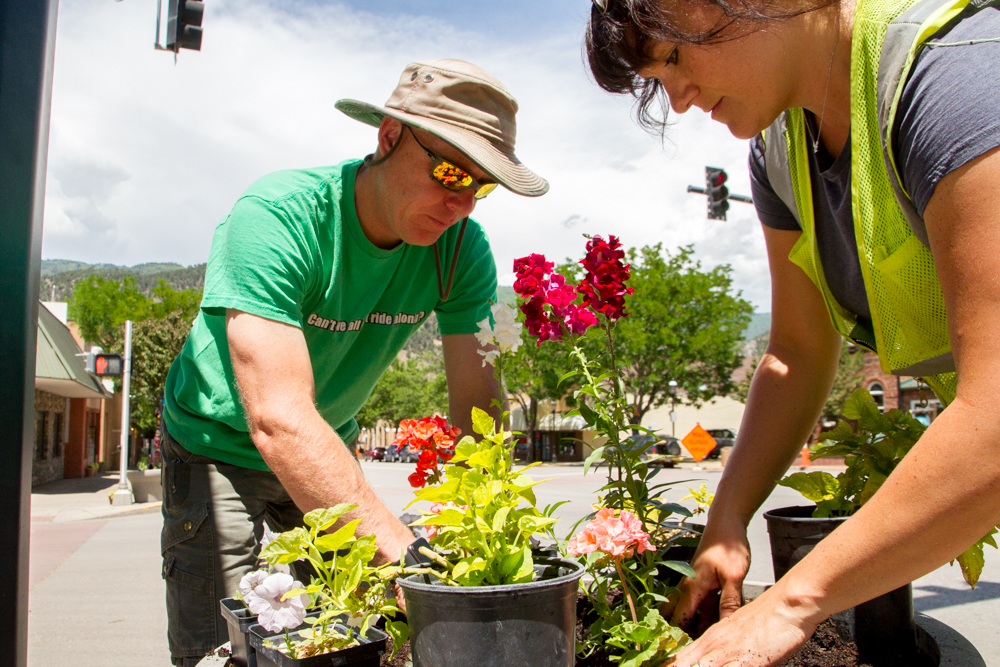 Mountain Valley Greenhouse Director Adam Juul and City of Glenwood Springs Parks and Recreation Maintenance Worker III Staci Andrassy helped to choose the pots, the flowers that went in them and the design of  the flower layout of each pot.