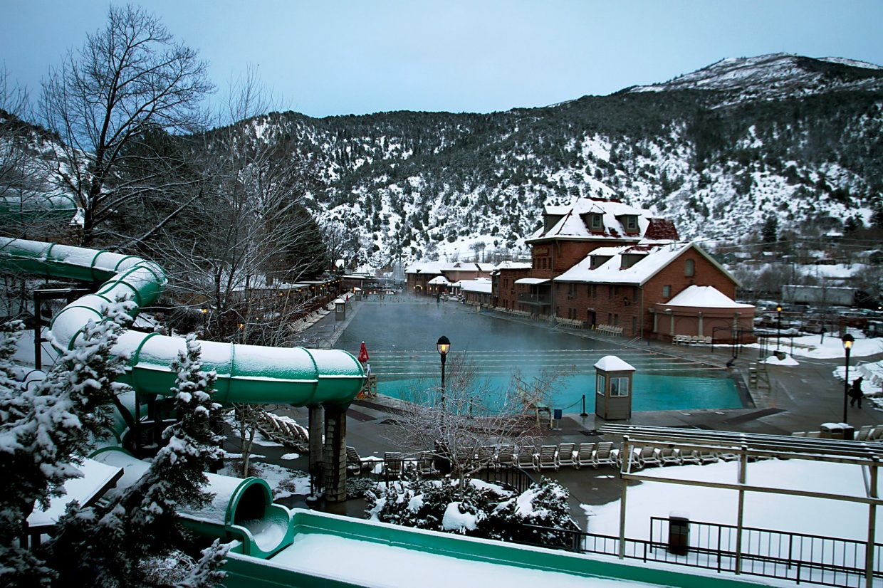 The relaxing warm waters from the Hot Springs Pool are an inviting site during a cold and snowy day in Glenwood.
