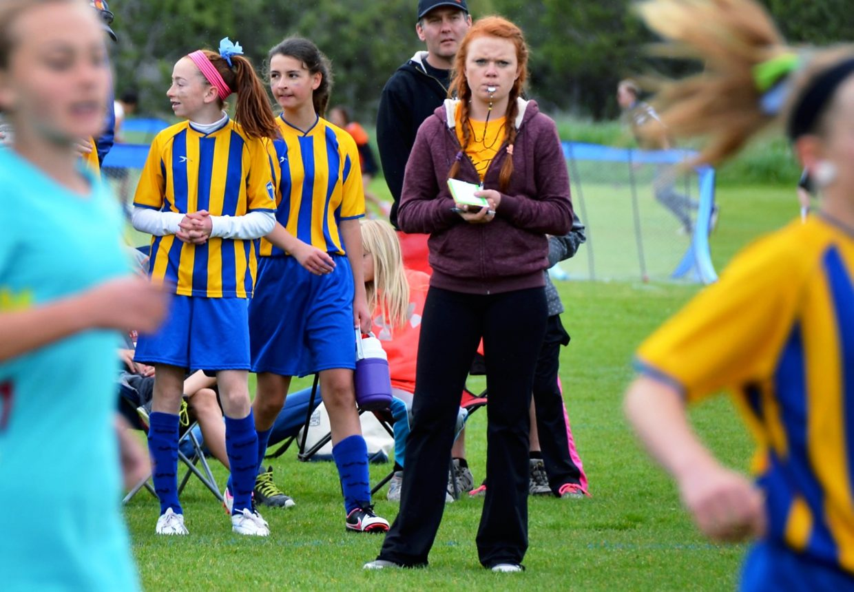 Roaring Fork High School graudatue Toni Gross refereed in the Emily Johnson tournament on Saturday.