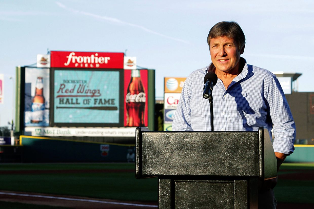 Royle Stillman stands at home plate before the fans of the Rochester Red Wings on Aug. 29 for the induction into the team's hall of fame. At Frontier Field he speaks in front of 13,000 fans expressing his gratitude for all the great memories.