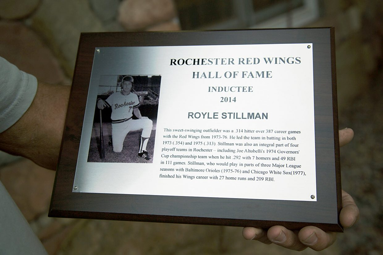 The plaque Royle Stillman received for being inducted into the Rochester Red Wings Hall of Fame.