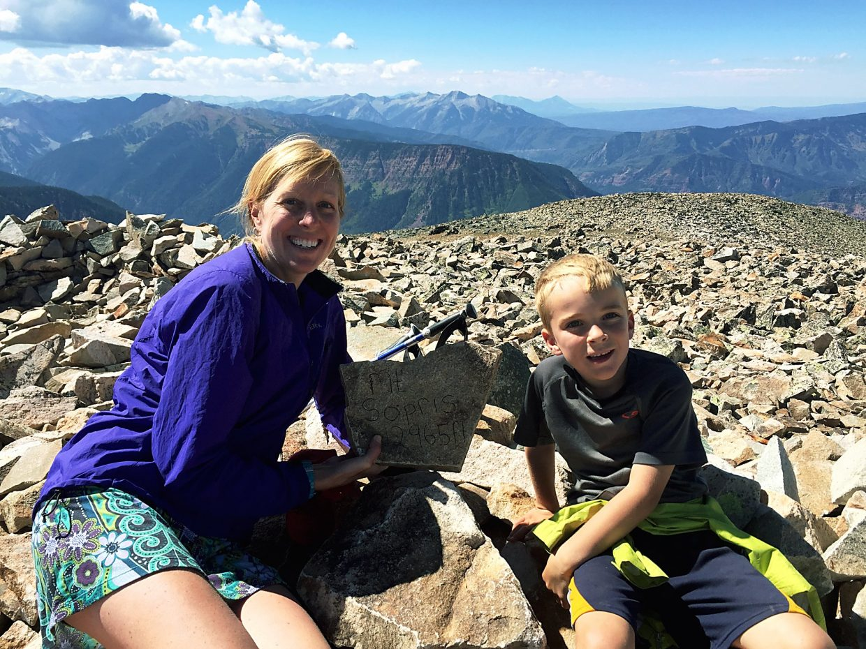 Seven-year-old Jack (left) hiked up Mount Sopris with his teo friends for the first time this summer. It was a challenging hike met with a fear of heights, but he did it!
