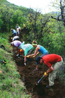 A crew from Roaring Fork Outdoor Volunteers builds a new trail on Skyline Ridge Park last summer. Volunteers are needed to work on 10 projects in summer 2014.