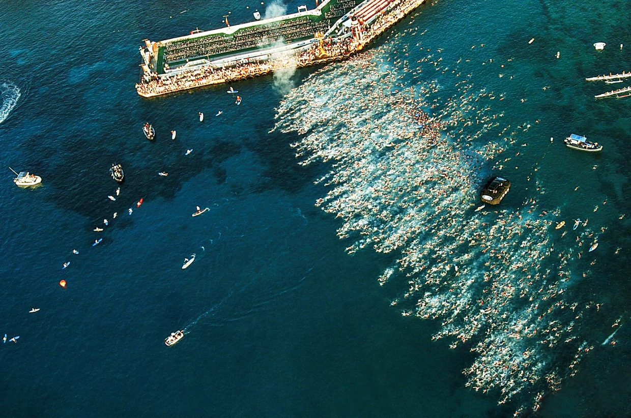 More than 2,000 athletes competed in the Ironman World Championships in Kona, Hawaii. Pictured is the start of the 2.4-mile swim in Kailua Bay.