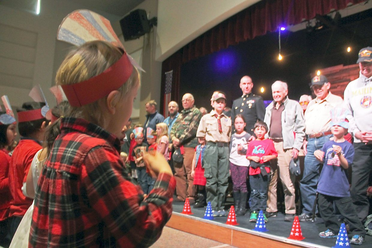 Crystal River Elementary School students honor veterans during an assembly Wednesday.