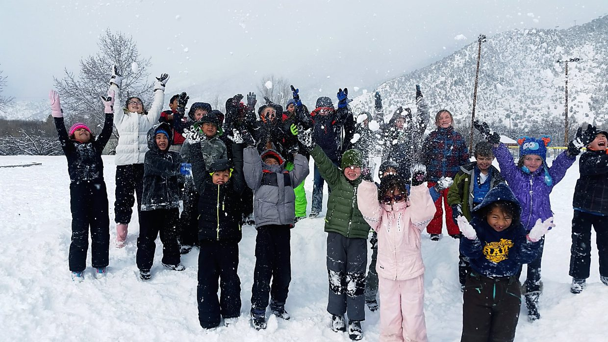 Roaring Fork district schools were open Tuesday, and these pupils at Glenwood Springs Elementary got out in the snow.
