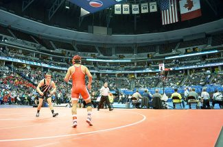 Grand Valley High School senior Will Hinkle wrestles in the Class 3A 160-pound  third-place match Saturday at the Class 4A and 3A State Championships at the Pepsi Center in Denver. Ten Garfield County wrestlers compete in the three-day state tournament, with six of them finding spots on the podium of their weight classes.