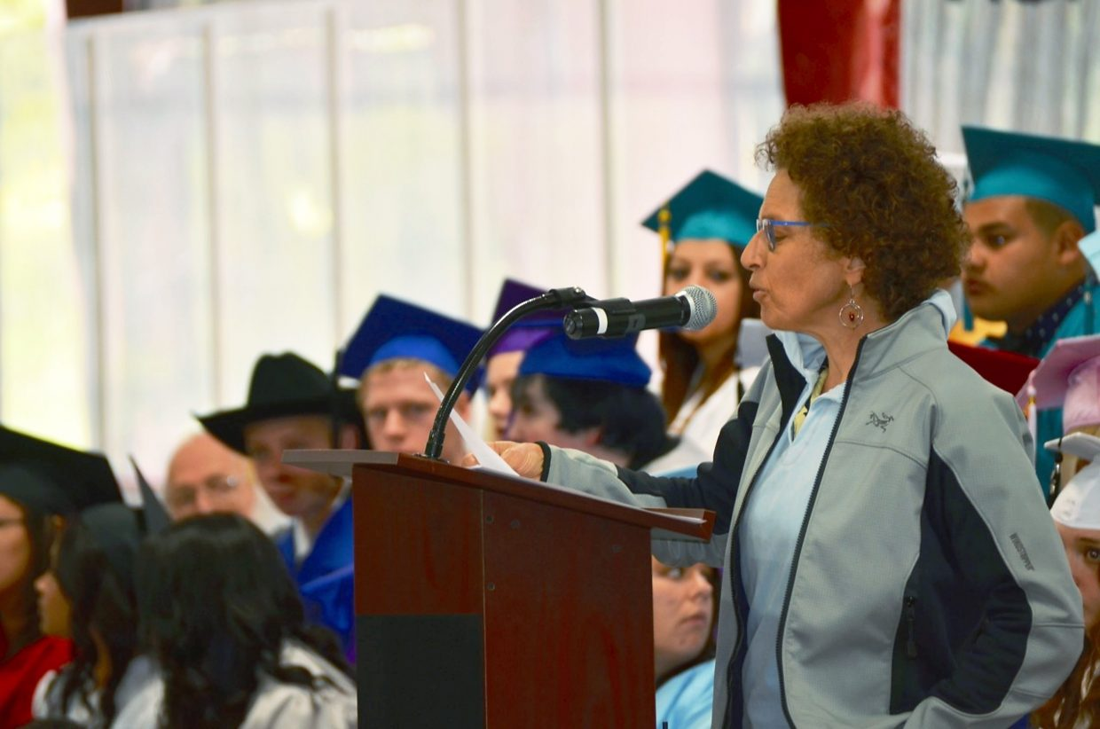 Susy Ellison gave the keynote speech at Yampah Mountain High School's commencement ceremony at the Glenwood Springs Community Center on Friday.