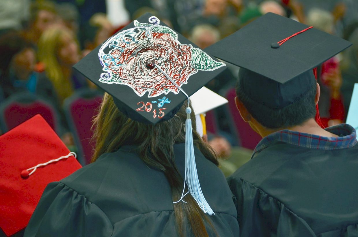Many students decorated their mortarboards for graduation day at Yampah Mountain High School's commencement ceremony at the Glenwood Springs Community Center on Friday.