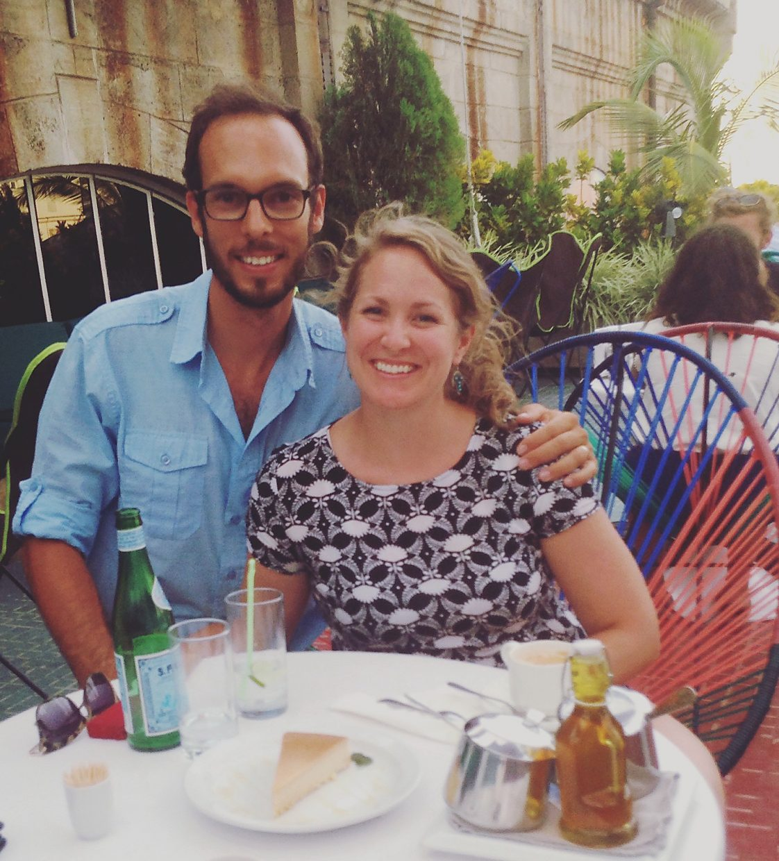 Author Caitlin Causey and husband Hunter enjoy a new privately owned cafe in Havana.