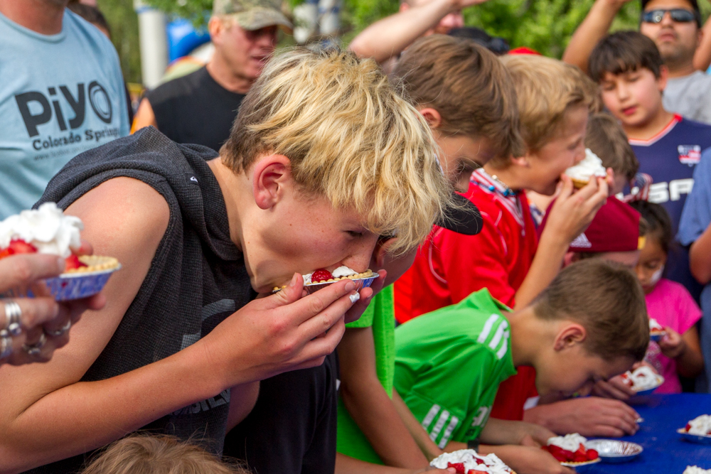 Aiden Heinz(13) came in second place during the second heat of the pie eating contest.