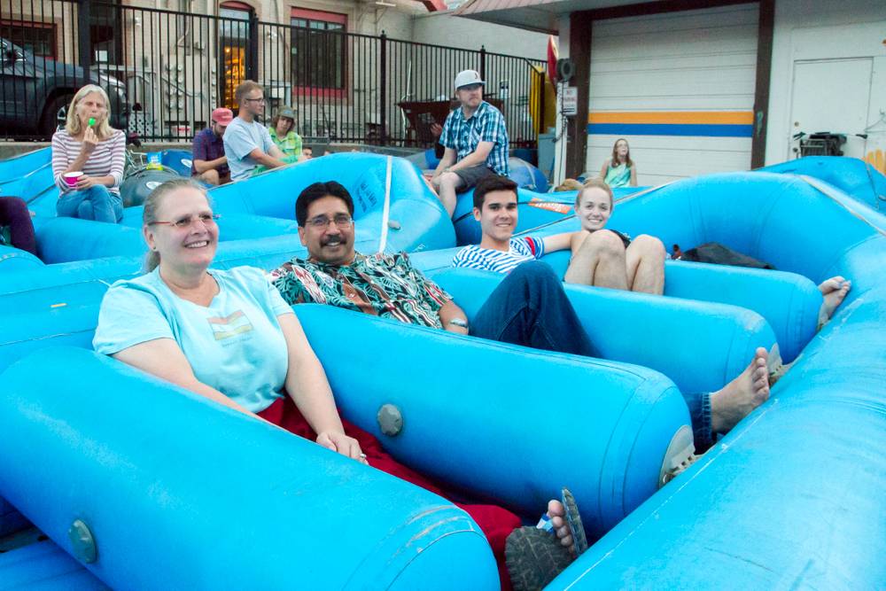 (From left to right) Sandi and Karl Mendonca along with Seth and Kristina Villalos from Enid, Oklahoma, took advantage of the free movie night in the Glenwood Adventure Company parking lot. Owner Ken Murphy started the free event during the first