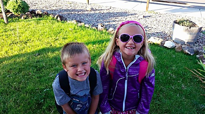 It's all smiles from Luke, entering kindergarten, and Emily, first grade, VanDeursen. Both are attending Wamsley Elementary School.