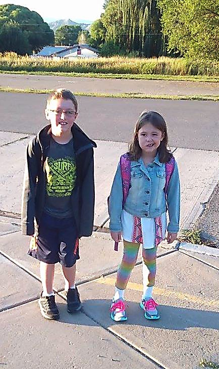 Jacob and Gabby Noyes from Silt smile for a photo before heading back to school. Jacob is attending Riverside Middle School and Gabby is heading to Cactus Valley Elementary School.