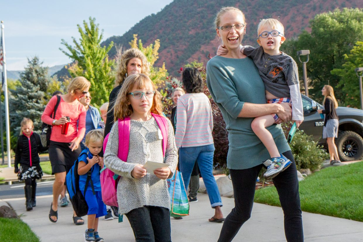 It was the first day of school bright and early Wednesday at Sopris Elementary in Glenwood Springs.