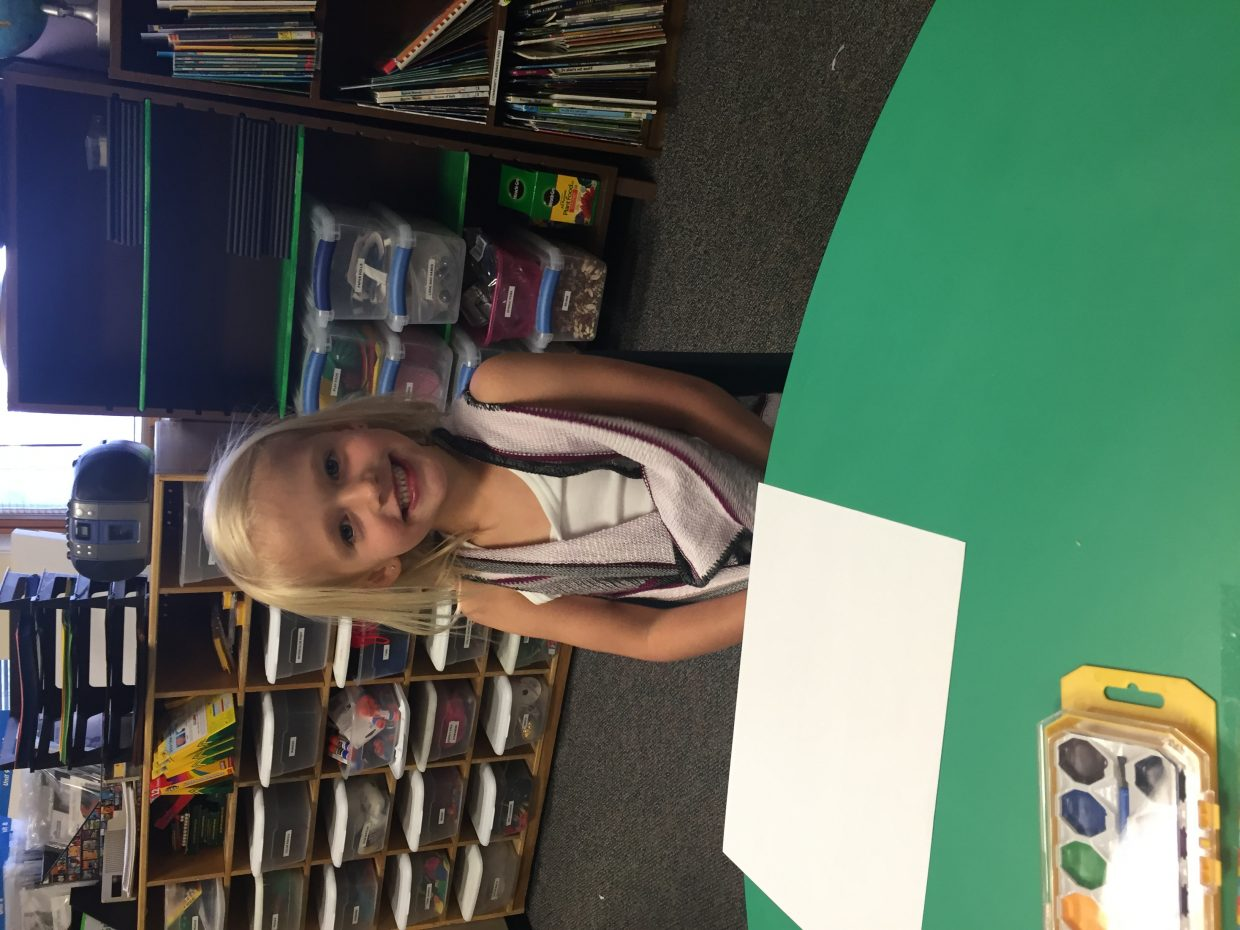 Brooklyn Huff during her first day as a kindergartner at Glenwood Springs Elementary School.
