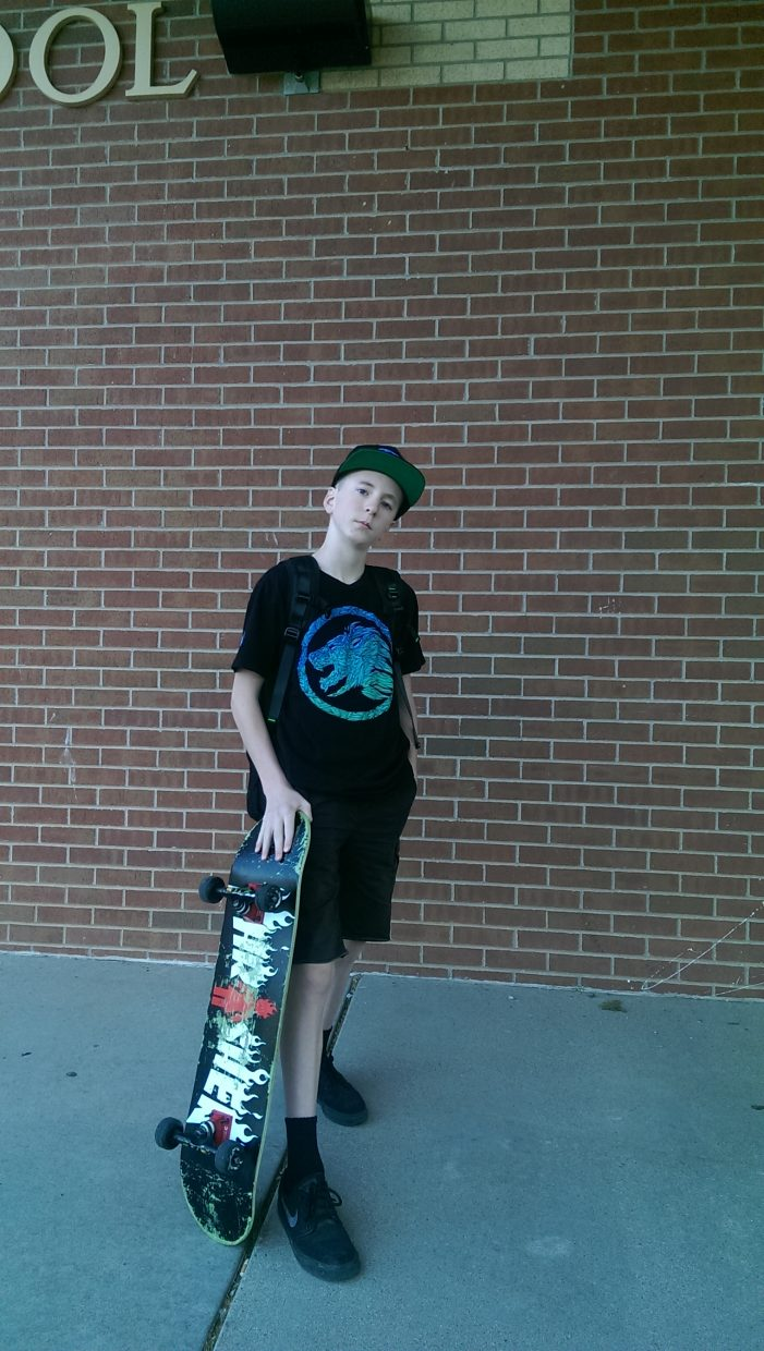 Hunter King, first day of the last year of middle school at Glenwood Springs Middle School