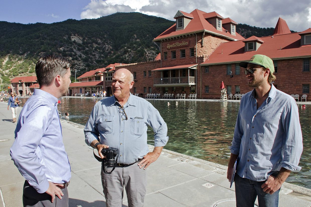 Sales director Jeremy Gilley shows the Bucklins around the Glenwood Hot Springs, which Walter Devereux helped develop.