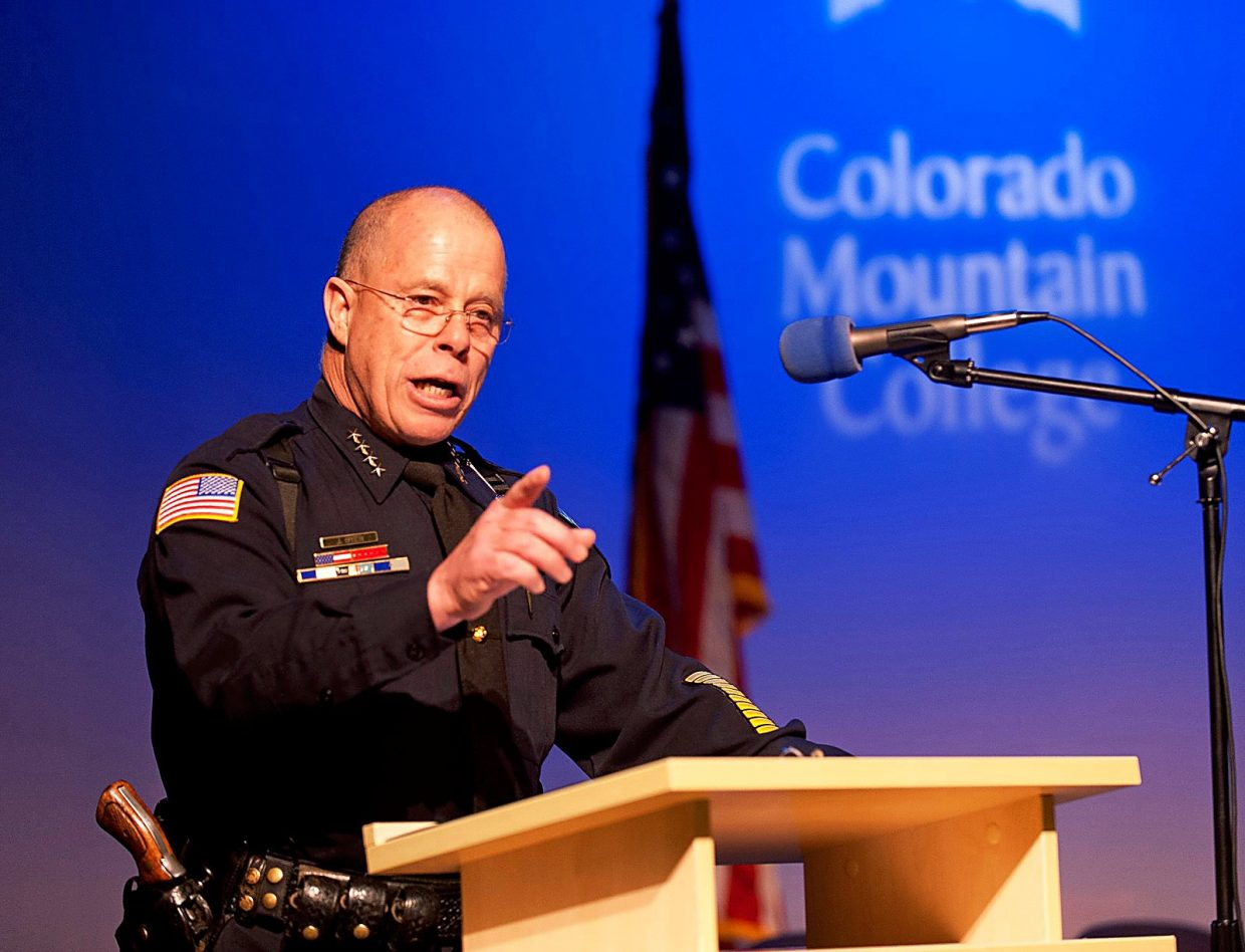 Rifle Police Chief John Dyer gave the address Friday to graduates of Colorado Mountain College's Colorado Law Enforcement Training Academy in Spring Valley as part of CMC's graduation ceremonies held throughout the college's district this weekend.