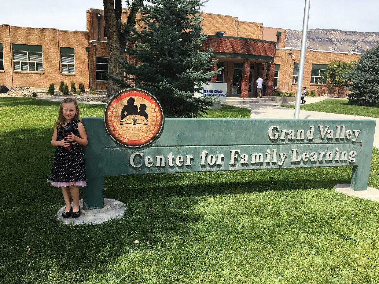 Payton Schneider prepares for her first day of first grade at the Grand Valley Center for Family Learning in Parachute.