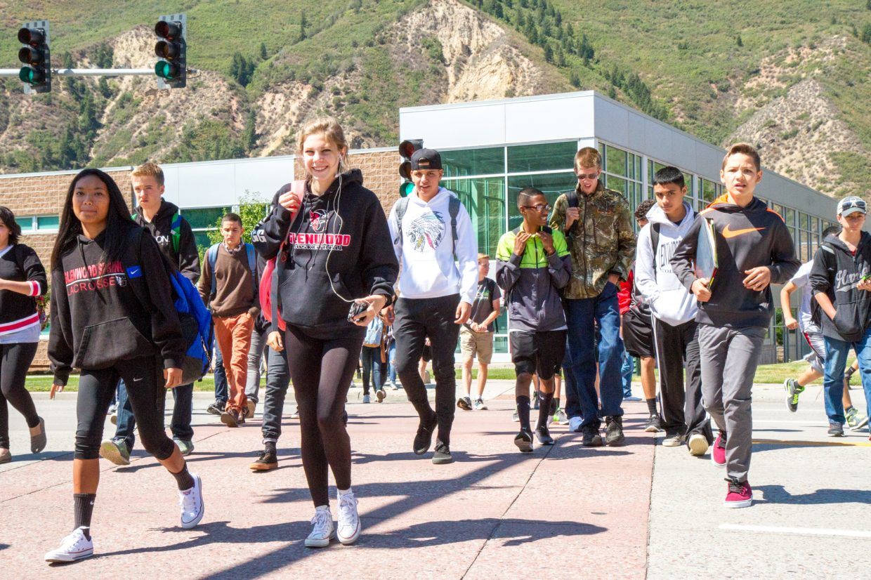 The usual midday rush of students headed to City Market, located across Grand Avenue from Glenwood Springs High School, in search of something for lunch.