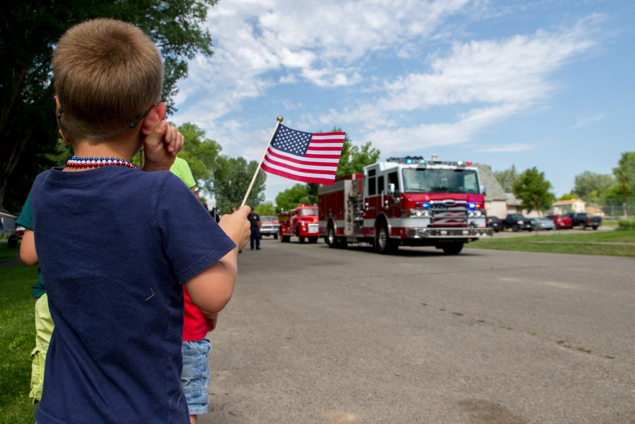 Local fire departments brought up the rear of the Parade in Silt on Saturday morning.