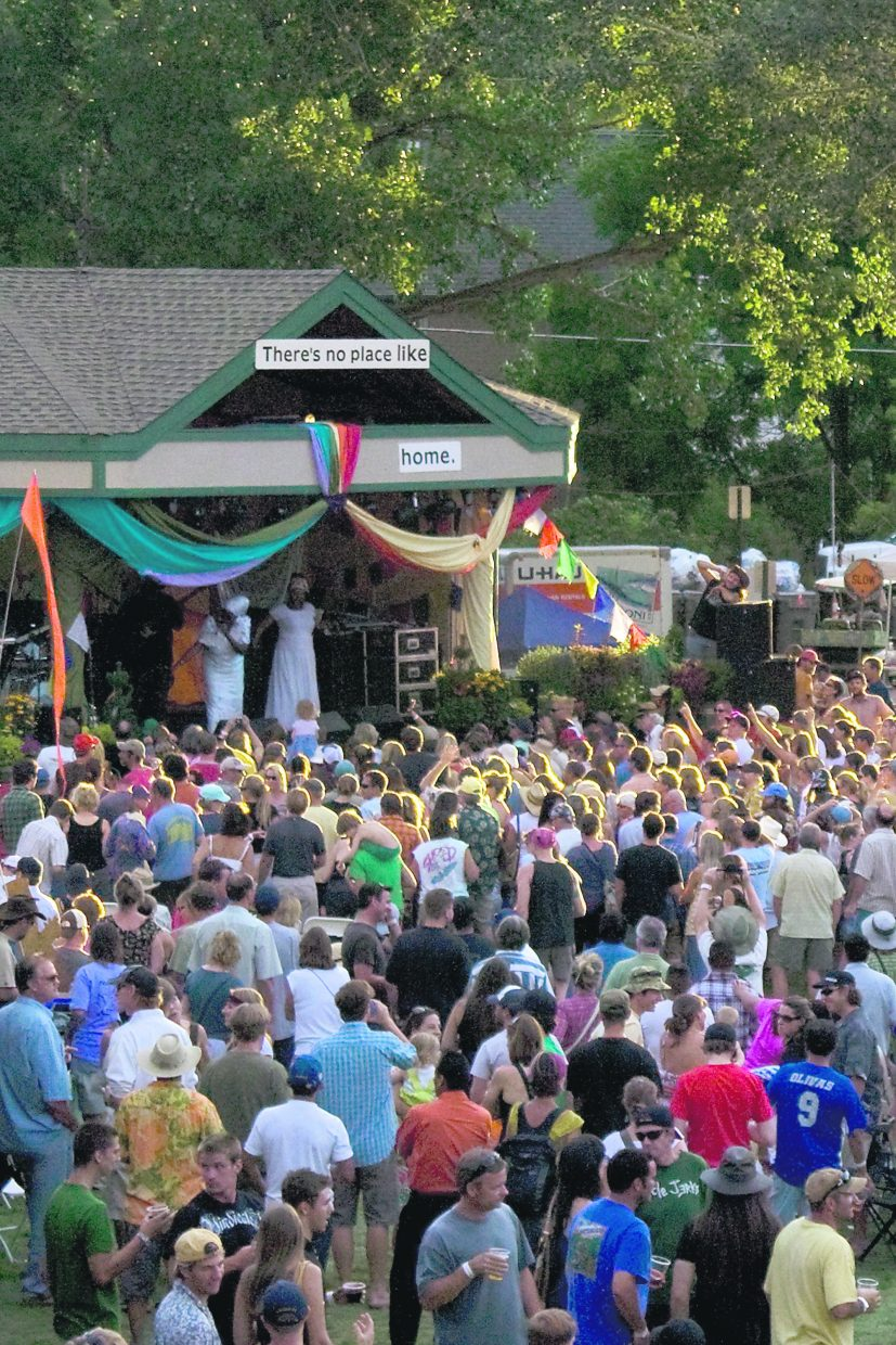 Locals and visitors alike dance to last band of a past Mountain Fair.