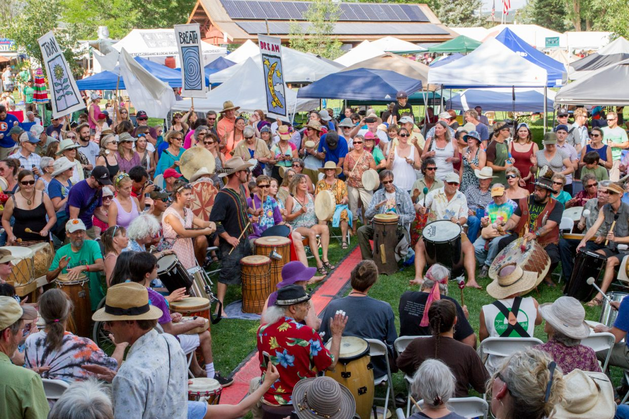 The Rhythms of the Heart Community Drum Circle opening the 45th Annual Carbondale Mountain Fair.