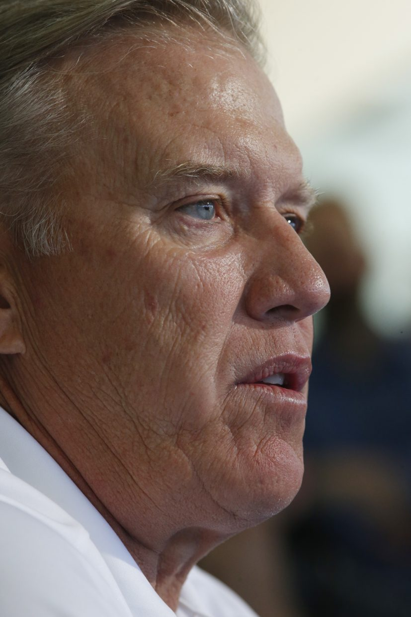Denver Broncos general manager John Elway speaks during news conference before the team's opening of training camp Wednesday, July 27, 2016 in Englewood, Colo. (AP Photo/David Zalubowski)