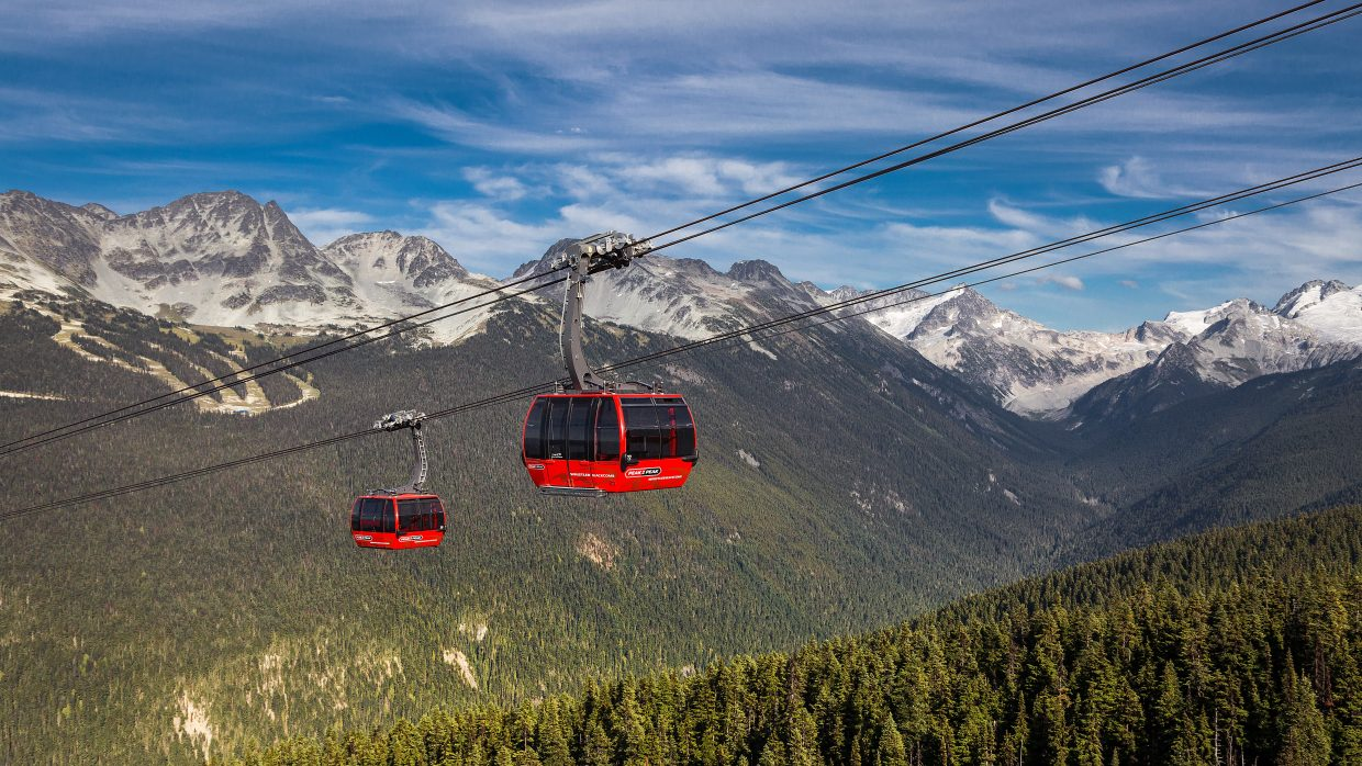 Two cabins on the P2P Gondola line pass over the forests below at Whistler Blackcomb.