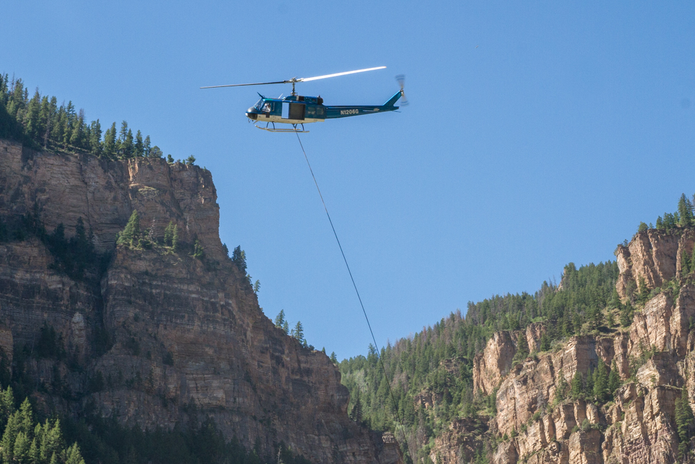 Glenwood Canyon was closed Wednesday due to helicopter operations to place rockfall netting in response to the major rock slide near the Hanging Lake tunnel in February. See more photos and video at postindependent.com