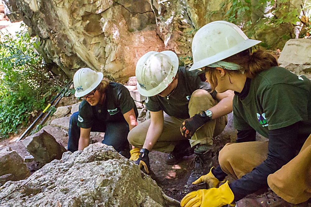 Brennan Collins, Katie Johnson and Audrey Feather doing rock maintenance on the Hanging Lake trail.