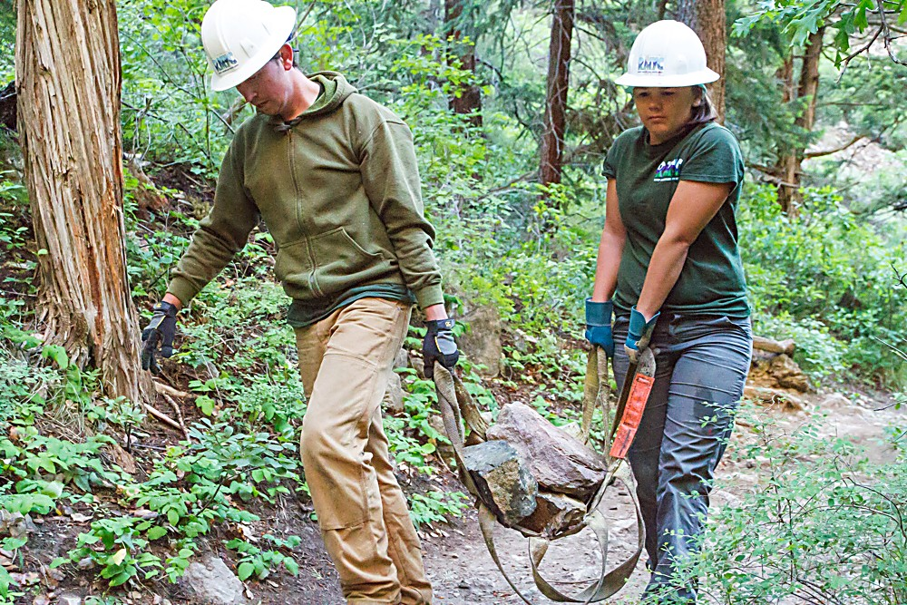 Michael Johnson and Shannon Esplin with the Garfield County Youth Corps spent two days doing trail maintenance at Hanging Lake.