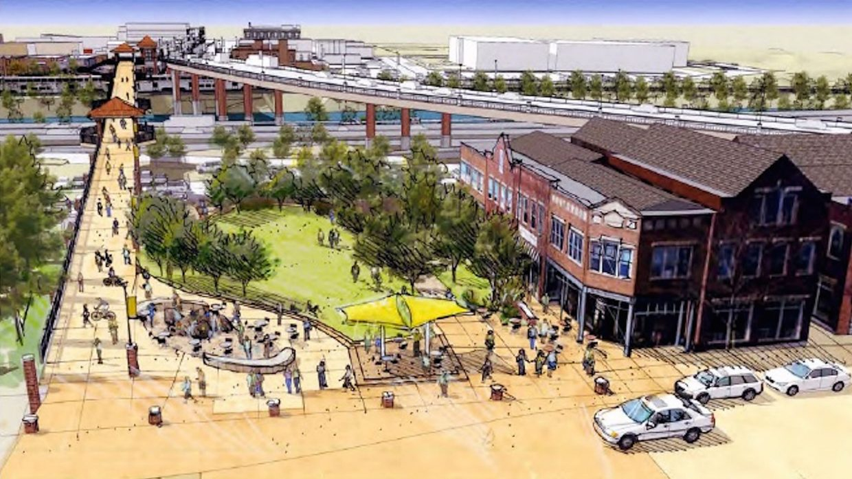 A rendering of the park area that is envisioned where the exsiting Grand Avenue bridge lands at Sixth Street, as laid out in the draft master plan for the area.