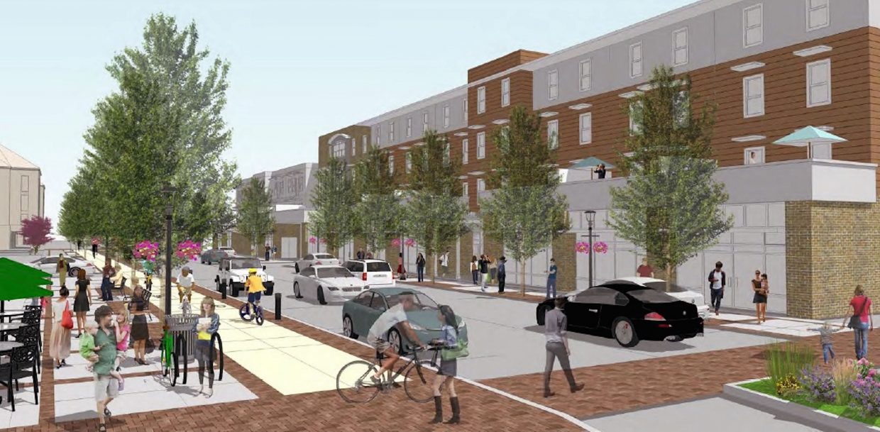 An archtiectural rendering shows the envisioned streetscape and mixed-use commercial and residential redevelopment along Sixth Street between Pine and Laurel streets in the draft Sixth Street Master Plan.
