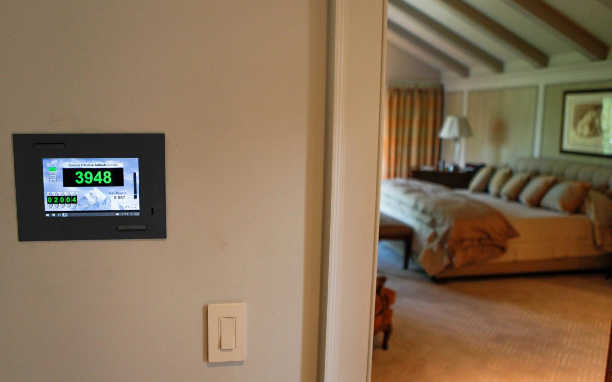 This altitude control system was installed by Altitude Control Technologies on Wednesday, Aug. 31, in a home in Vail. The system brings oxygen to rooms of the house to help alleviate symptoms of altitude sickness. The higher the elevation, the closer to sea level the system can bring it. At this home in Vail at 8,500 feet, the system can bring oxygen levels to around 1,500 to 2,000 feet above sea level.