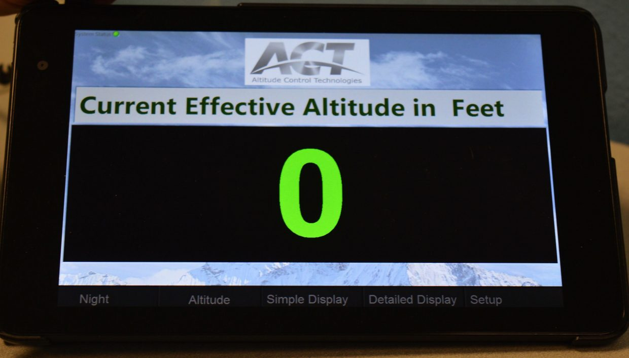 When an Altitude Control Technologies system is installed, the only thing you see is this control panel. Right now, this one is set at sea level, hence the zero.