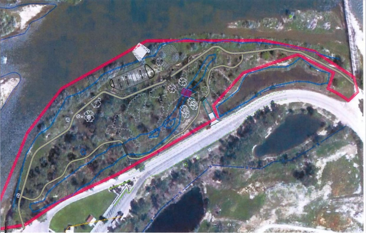 This map shows the planned trail network associated with the new Rifle boat ramp west of the existing boat ramp.