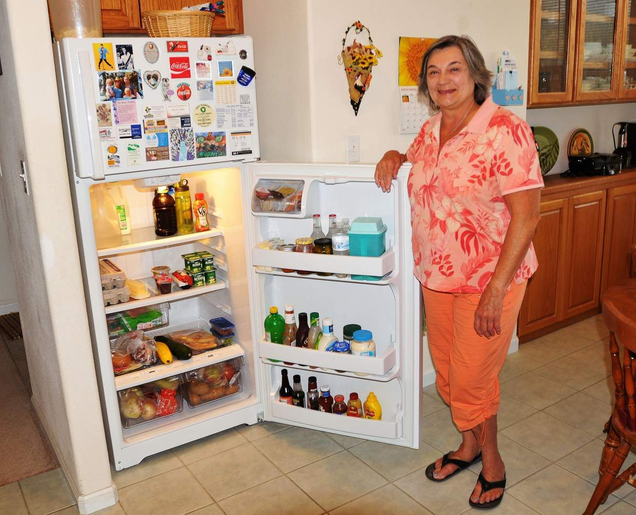 A new Energy Star refrigerator is saving electricity for Margaret McGhee of Battlement Mesa. McGhee received the new fridge through the CARE program.