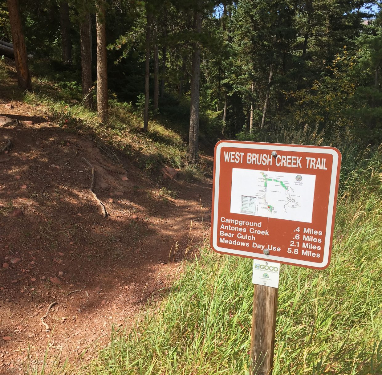 The West Brush Creek Trail leading from the Sylvan Lake Campground to the Meadows Day Use area is a popular destination for hikers.
