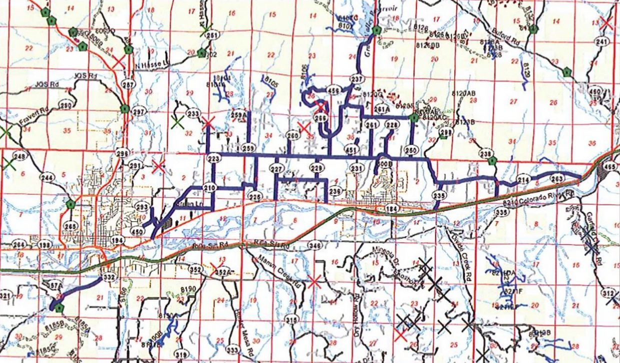 This map depicts county roads in the Rifle and Silt area. The heavy blue lines denote routes that would be closed to off-highway vehicles under a draft ordinance coming before the Garfield County commissioners.