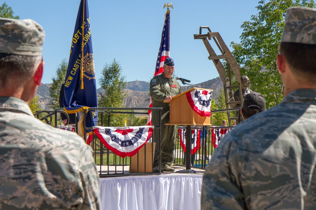 Major General H. Michael Edwards speaking to the crowd at the Captain William H. DuBois, Jr. memorial dedication at Grand River Park in New Castle. For more photos and a video visit postindependent.com.