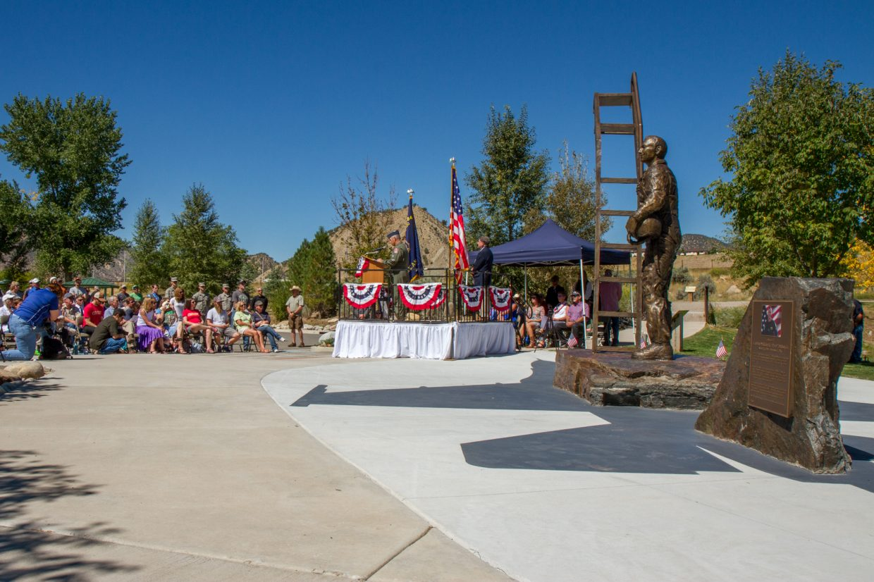 The Captain William H. DuBois, Jr memorial dedication on September 10, 2016 at Grand River Park in New Castle, Colorado.