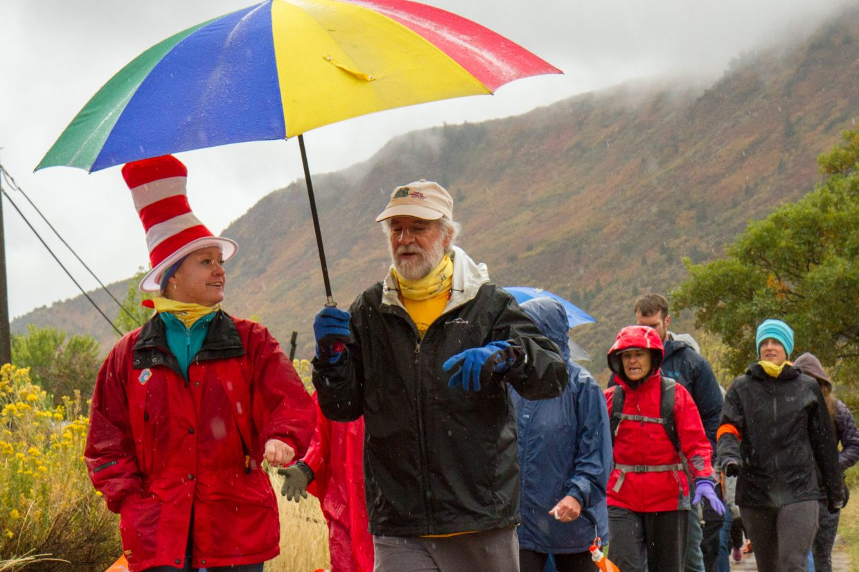 """The theme for this year's rally was Dr. Seus's """"oh the places you'll go"""". Many of the walkers dressed up in Dr. Seus hats and clothing."""