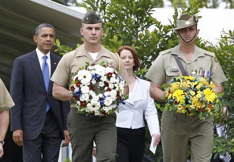 Christopher Westhoff (left) and President Obama in Austrailia.