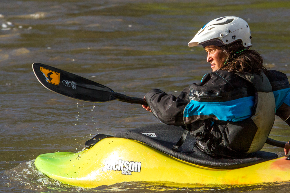 Maren Jaffee traveled from Denver to take on the main wave of the whitewater park. The park includes four features— the main wave, the high water feature, the low water feature, and the learning pool.