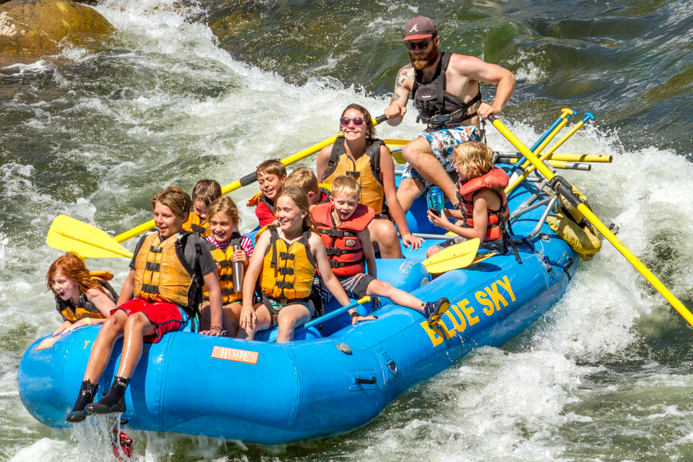 A group of rafters with Blue Sky Adventure Company taking on The Whitewater Park in West Glenwood earlier this summer.