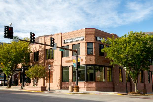 The new Bank of Colorado building at Ninth and Grand in downtown Glenwood Springs.