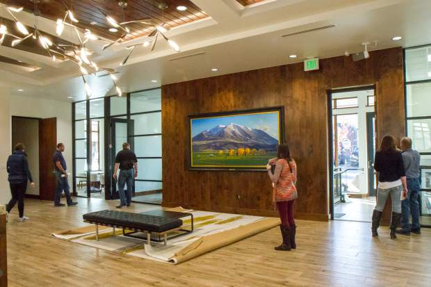 The lobby of the new Bank of Colorado building on Ninth and Grand features a Lanny Grant painting of Mt. Sopris as its centerpiece.
